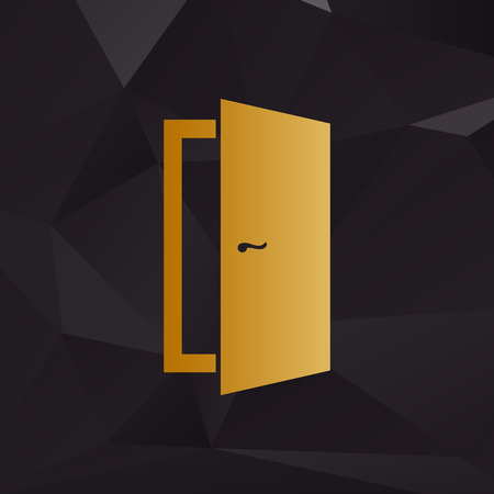 door sign: Door sign illustration. Golden style on background with polygons.
