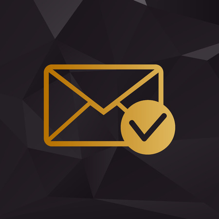 allow: Mail sign illustration with allow mark. Golden style on background with polygons.