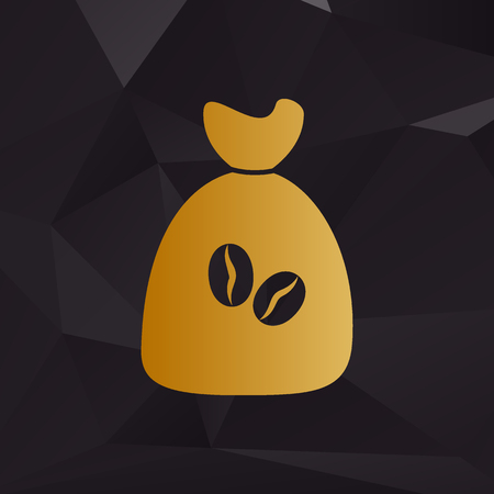 coffee bag: Coffee bag Icon. Coffee bag Vector. Coffee bag Icon Button. Golden style on background with polygons.