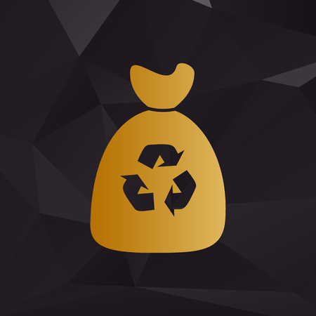 to refuse: Trash bag icon. Golden style on background with polygons.