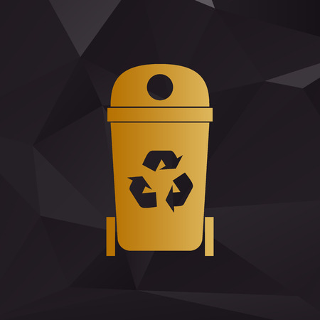 trashcan: Trashcan sign illustration. Golden style on background with polygons.