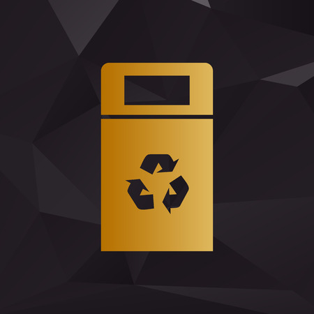 trashing: Trashcan sign illustration. Golden style on background with polygons.