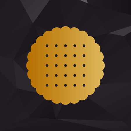 scone: Pyramid sign illustration. Golden style on background with polygons.