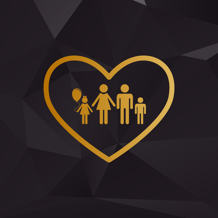 siloette: Family sign illustration in heart shape. Golden style on background with polygons. Illustration