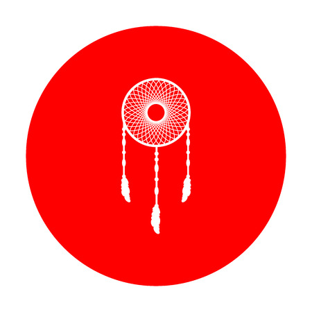 swelled: Dream catcher sign. White icon on red circle.