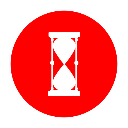 Hourglass sign illustration. White icon on red circle.