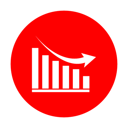 Declining graph sign. White icon on red circle.