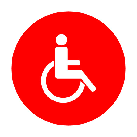 Disabled sign illustration. White icon on red circle.