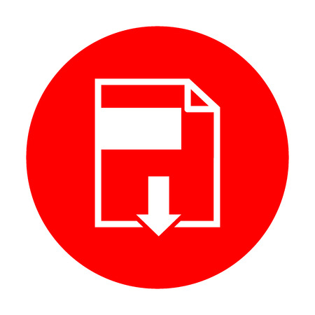 File download sign. White icon on red circle. Illustration