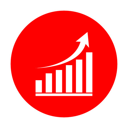 Growing graph sign. White icon on red circle. Illusztráció
