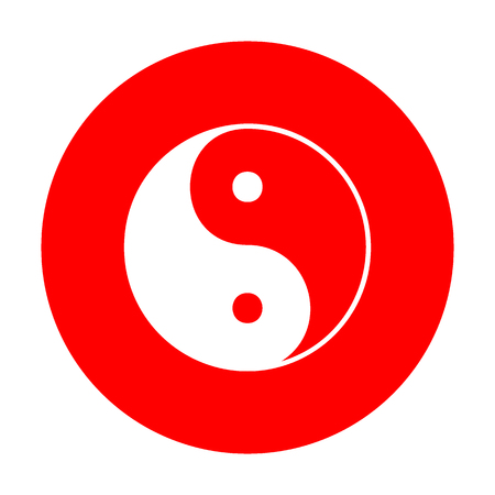 daoism: Ying yang symbol of harmony and balance. White icon on red circle.