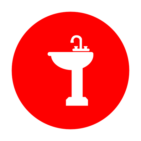 bathroom sink: Bathroom sink sign. White icon on red circle.