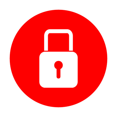 Lock sign illustration. White icon on red circle.