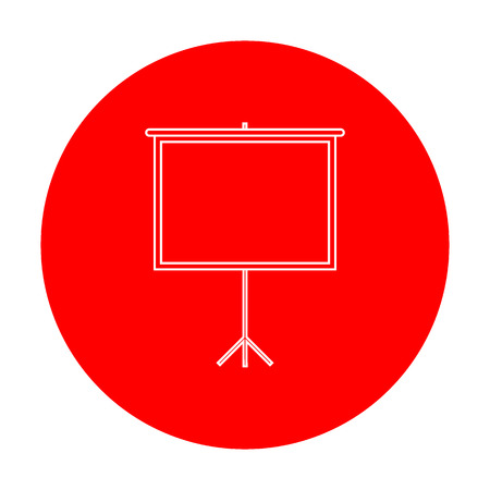 Blank Projection screen. White icon on red circle. Illustration