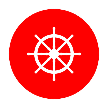 Ship wheel sign. White icon on red circle.