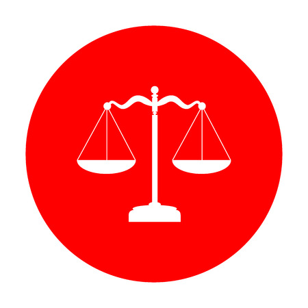Scales balance sign. White icon on red circle.
