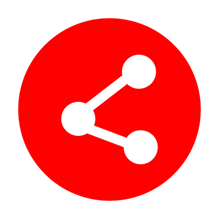 Share sign illustration. White icon on red circle. Illustration