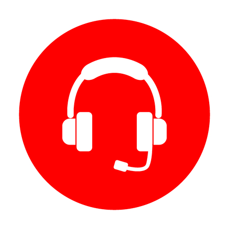 Support sign illustration. White icon on red circle.