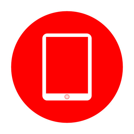 touch sensitive: Computer tablet sign. White icon on red circle.