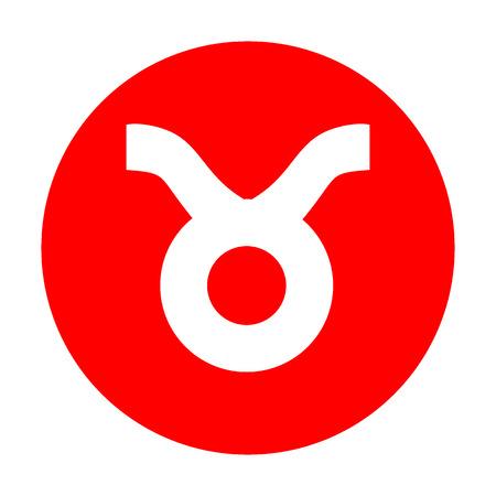 Taurus sign illustration. White icon on red circle.