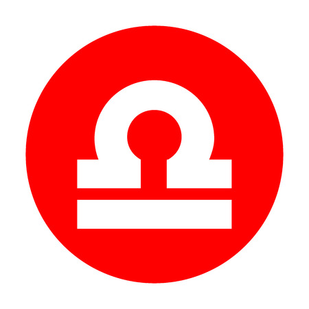 red sign: Libra sign illustration. White icon on red circle.