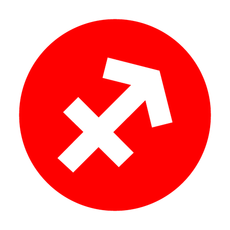 red sign: Sagittarius sign illustration. White icon on red circle. Illustration