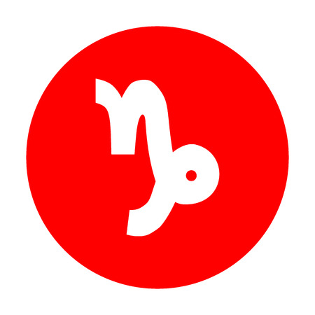 red sign: Capricorn sign illustration. White icon on red circle.