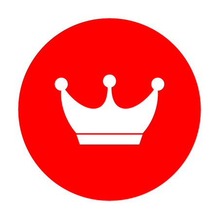 King crown sign. White icon on red circle.