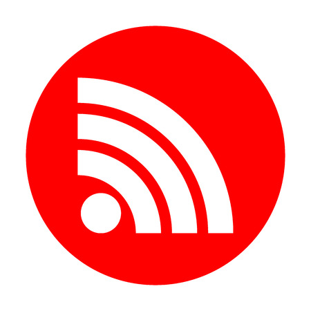 RSS sign illustration. White icon on red circle.