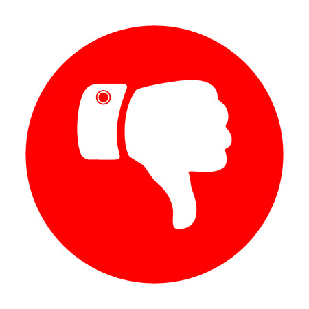 disapprove: Hand sign illustration. White icon on red circle. Illustration