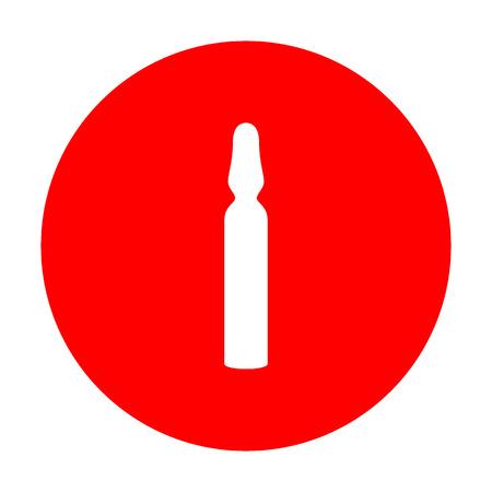 inyeccion intramuscular: signo ampolla médica. El icono blanco en el círculo rojo.