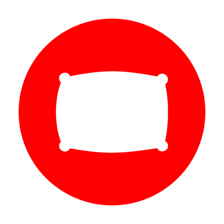 softy: Pillow sign illustration. White icon on red circle.
