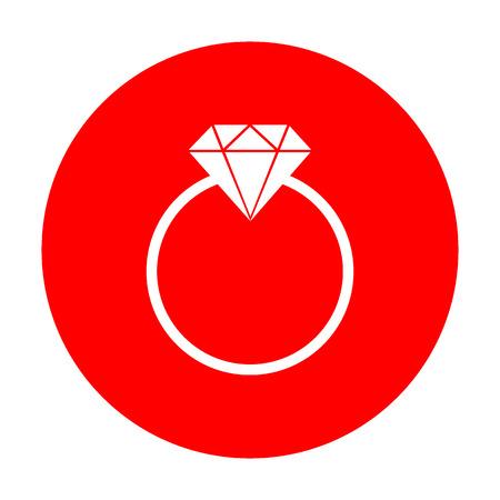 Diamond sign illustration. White icon on red circle.