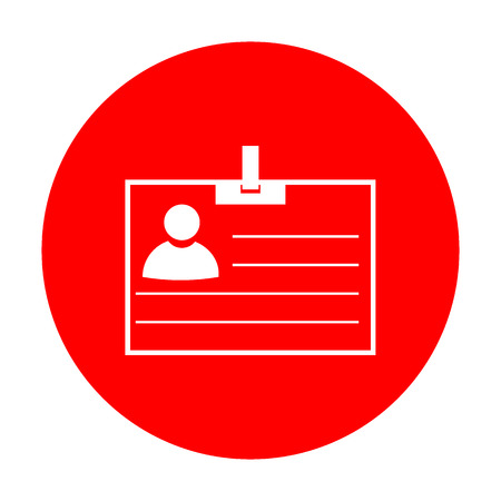 recognizing: Id card sign. White icon on red circle.