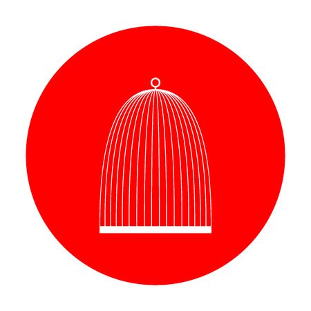 Bird cage sign. White icon on red circle. Illustration