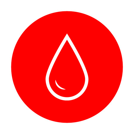 refuel: Drop of water sign. White icon on red circle. Illustration