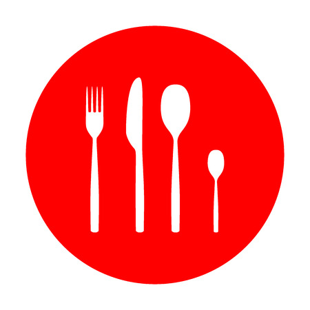 Fork spoon and knife sign. White icon on red circle.