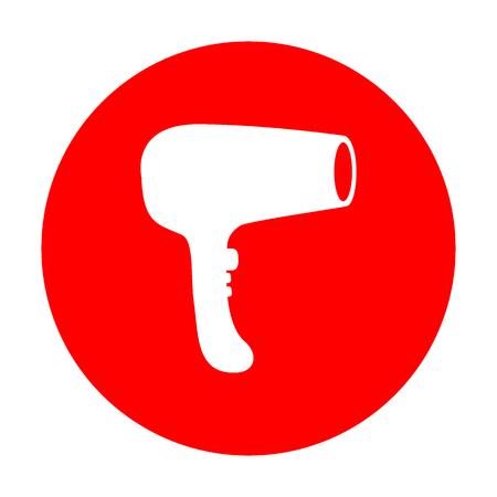 Signe de séchoir à cheveux. Icône blanche sur le cercle rouge.
