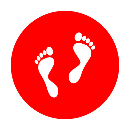 Foot prints sign. White icon on red circle.