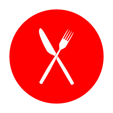Fork and Knife sign. White icon on red circle.