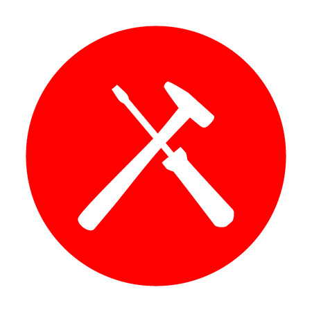 reconditioning: Tools sign illustration. White icon on red circle.