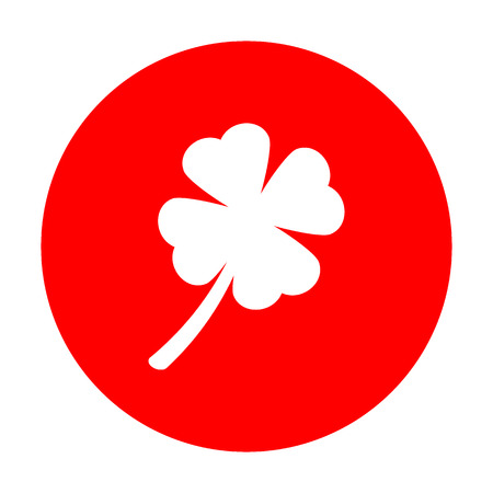 irish culture: Leaf clover sign. White icon on red circle. Illustration