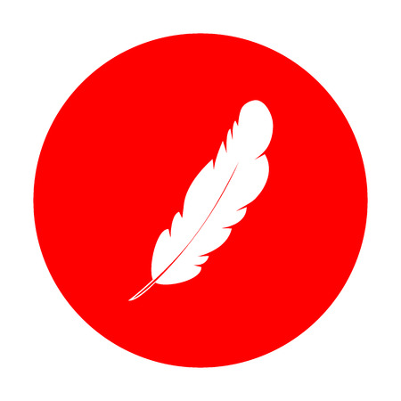 ink pot: Feather sign illustration. White icon on red circle.