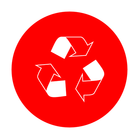 recycle logo: Recycle logo concept. White icon on red circle. Illustration