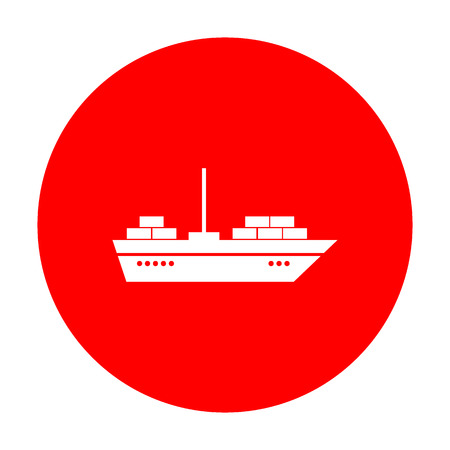 ship sign: Ship sign illustration. White icon on red circle.