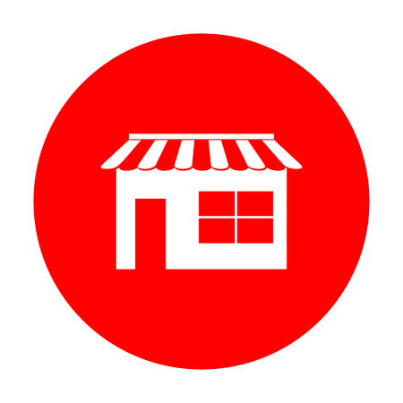 Store sign illustration. White icon on red circle. Illustration