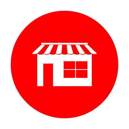 Store sign illustration. White icon on red circle. Ilustração