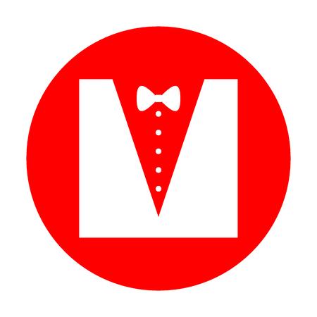 Tuxedo with bow silhouette. White icon on red circle.