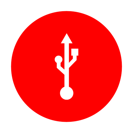 USB sign illustration. White icon on red circle.