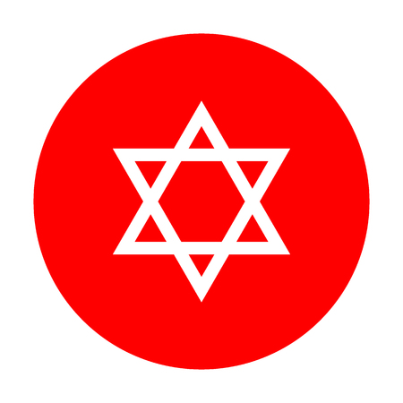 magen david: Shield Magen David Star. Symbol of Israel. White icon on red circle.